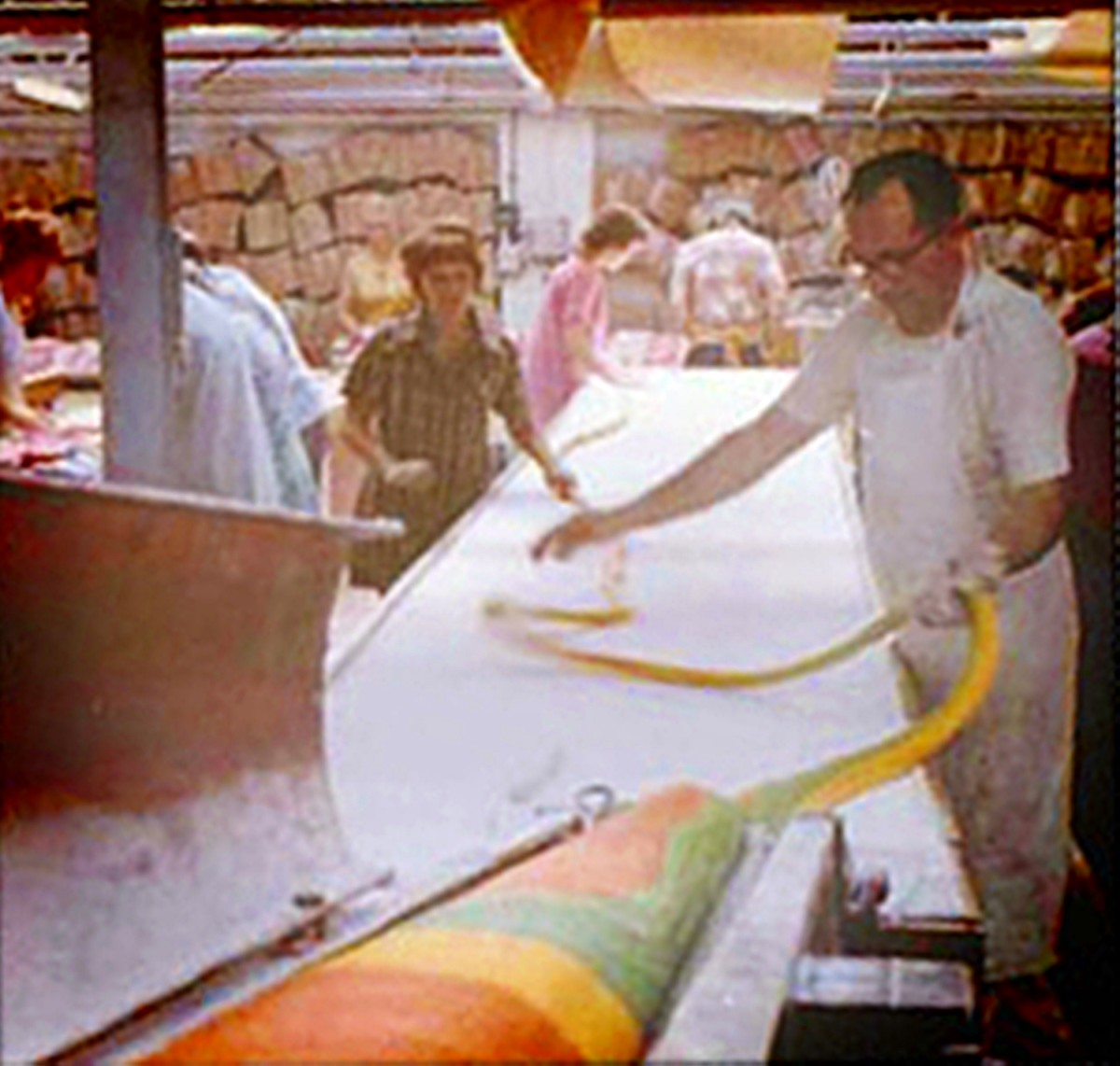 Making the sticks of rock at Ashton Candy Co, where my mum worked in the 1970s