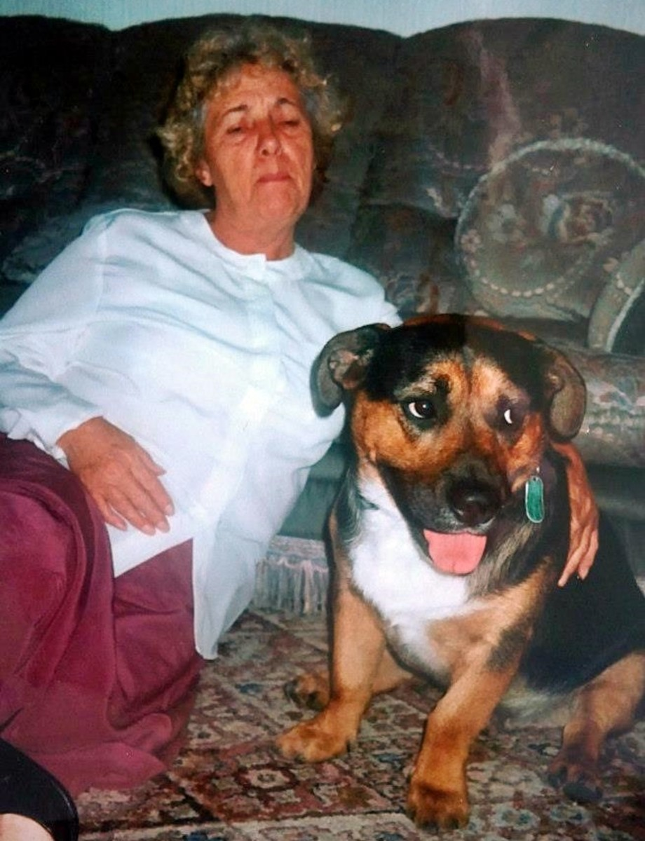 Mum with my rescue dog, Buster (summer 1999).