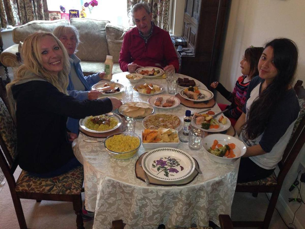 A happy family gathering (Easter 2014): Me, mum, Eric, Sarah and Becky enjoying a lovely meal cooked by my sister-in-law, Liza.