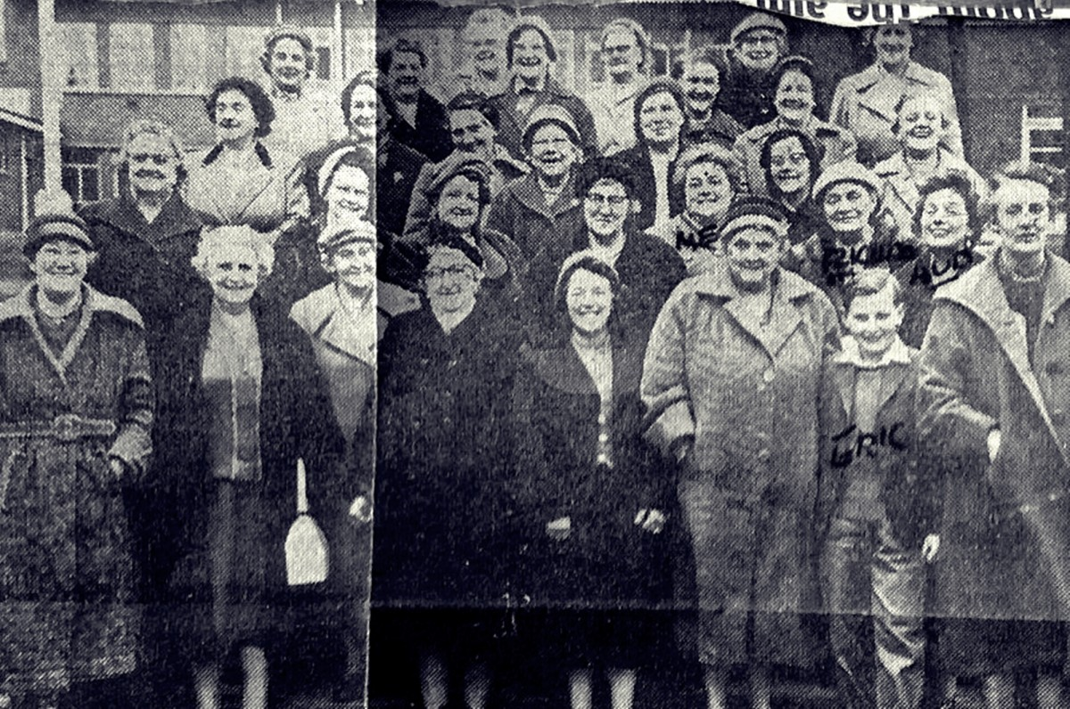 Mum, Grandma Evans, Grandma Trigg and my brother Eric pictured on a trip with the Tyldesley Ward women's group in the late 1950s. Grandma Trigg had written their names on the photo, which appeared in the local newspaper.