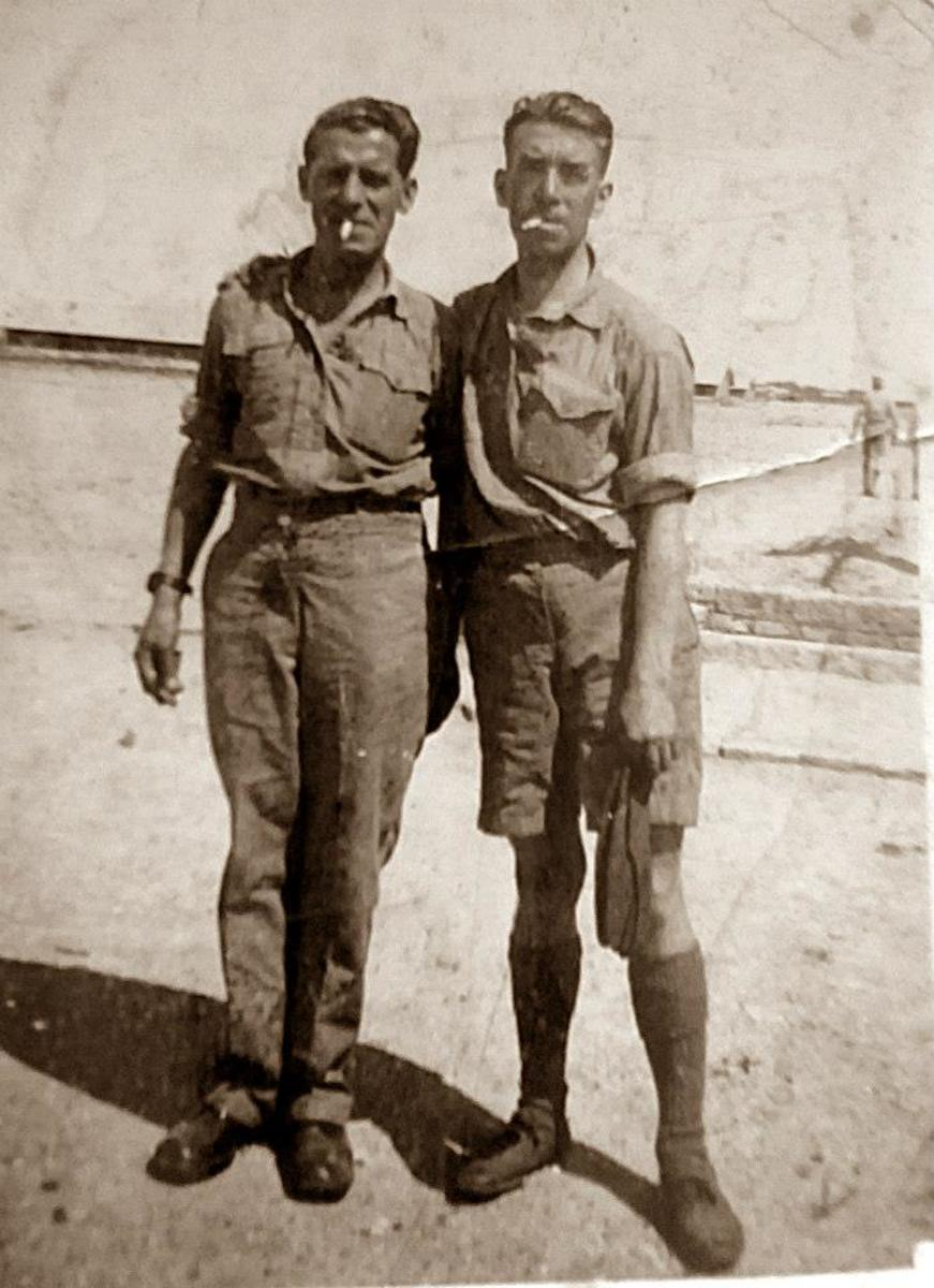 Grandad, on the left, with one of his pals while deployed to Ashur, Iraq, with the RAF during the Second World War.