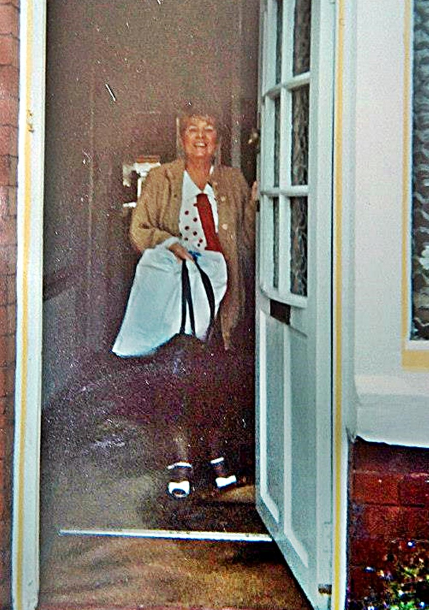 Mum in the 1980s, leaving for work in the office of Warburton's Bakery.