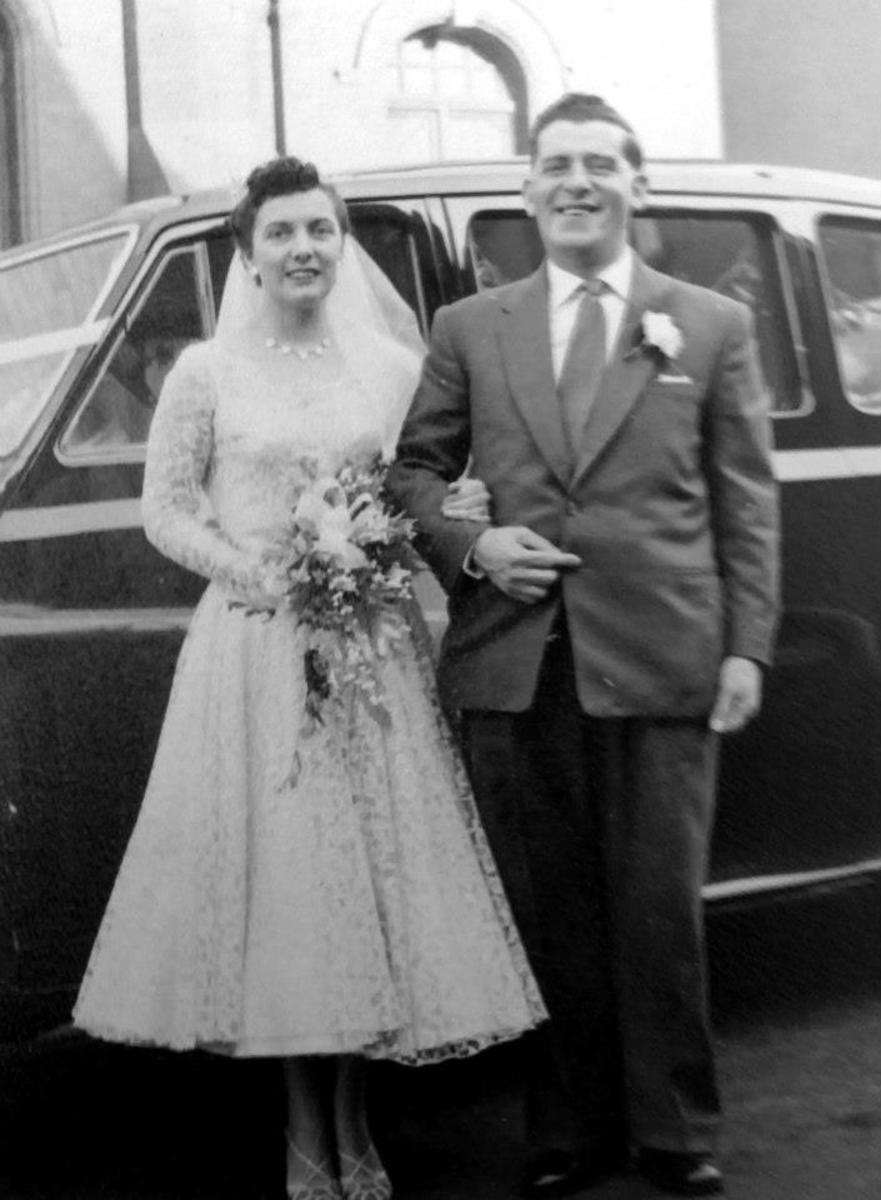 Mum and her proud father on her wedding day.