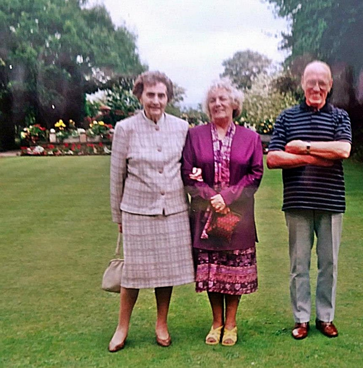 Pictured from left: Mum's pal Beryl, mum and dad in the scenic gardens of Springfield House in Pilling, where we would dine out on a Sunday in the '90s
