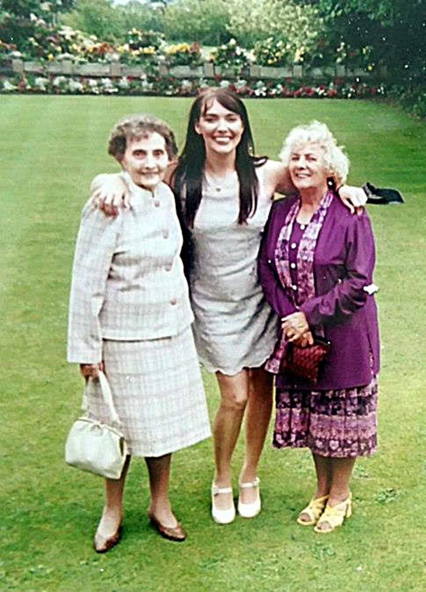 Beryl, me and mum in the grounds of Springfield House, Pilling, a regular haunt where we dined out in the 1990s