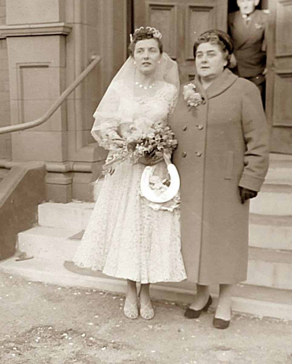 Mum and grandma (pictured on mum's wedding day in 1957) had lived under the same roof for 99 per cent of mum's life and were very close.