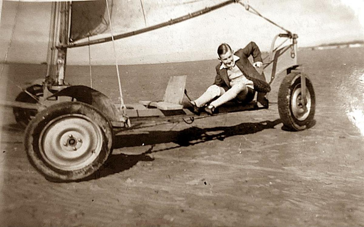 My brother sandyachting on Blackpool beach in the late 1950s
