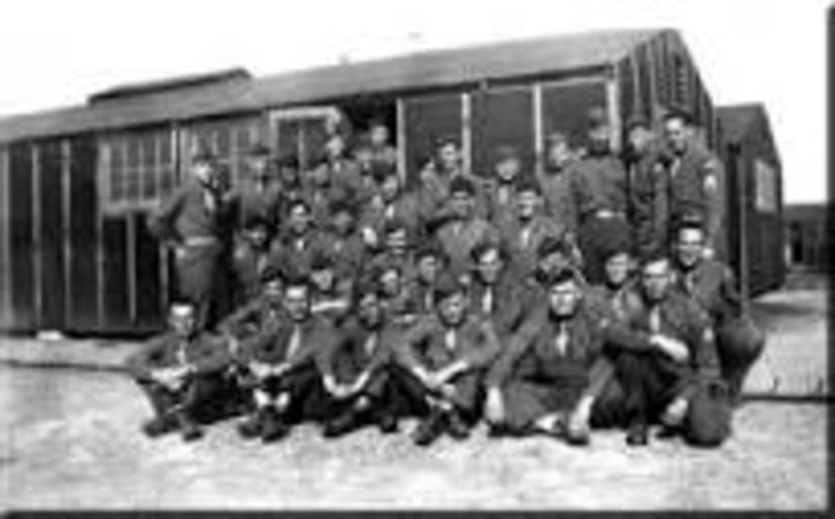 334 Infantry at Camp Howze.  Look at those poorly constructed tar papered barracks.