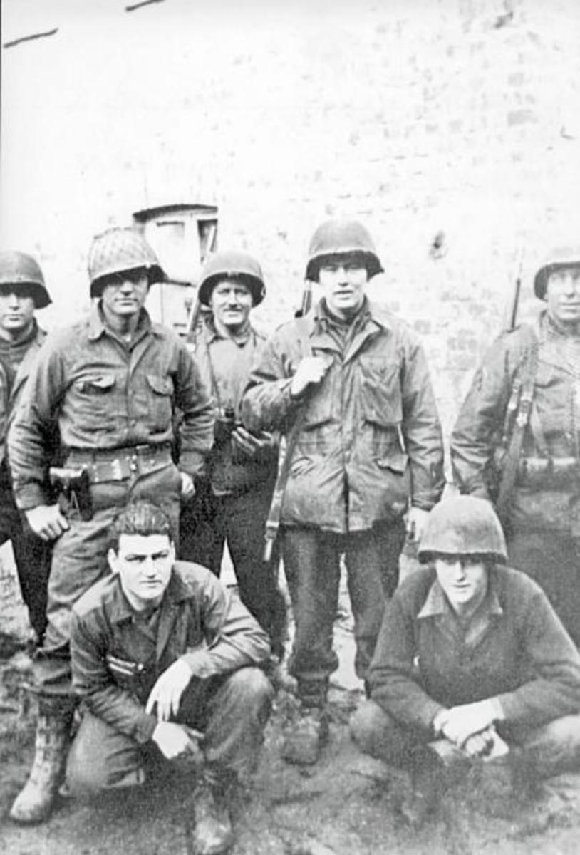 334th Infantry Headquarters Company Brachelen Germany February 1945. Pictured. Curtis Bullington, Picket, Clifford Haas, Clarence Hackett, Jay Fregia, William Minton, and Andrew Michie