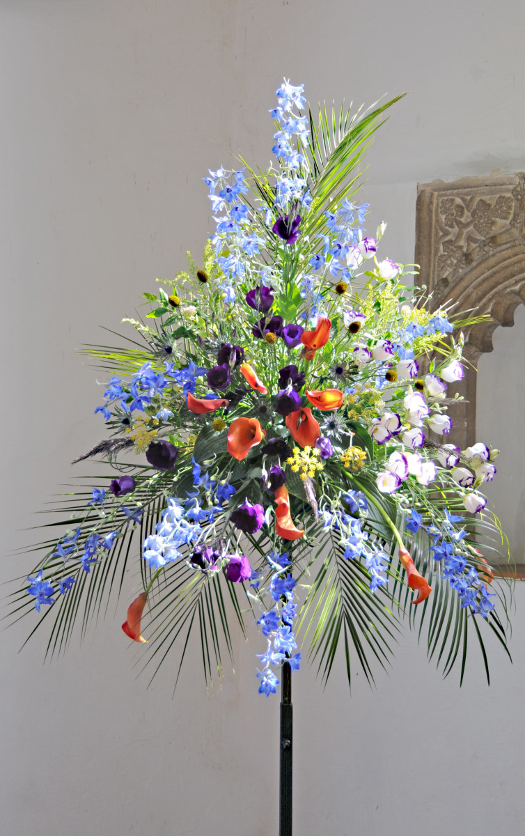 A Stunning Pedestal Floral Arrangement in the Swaffham Church.