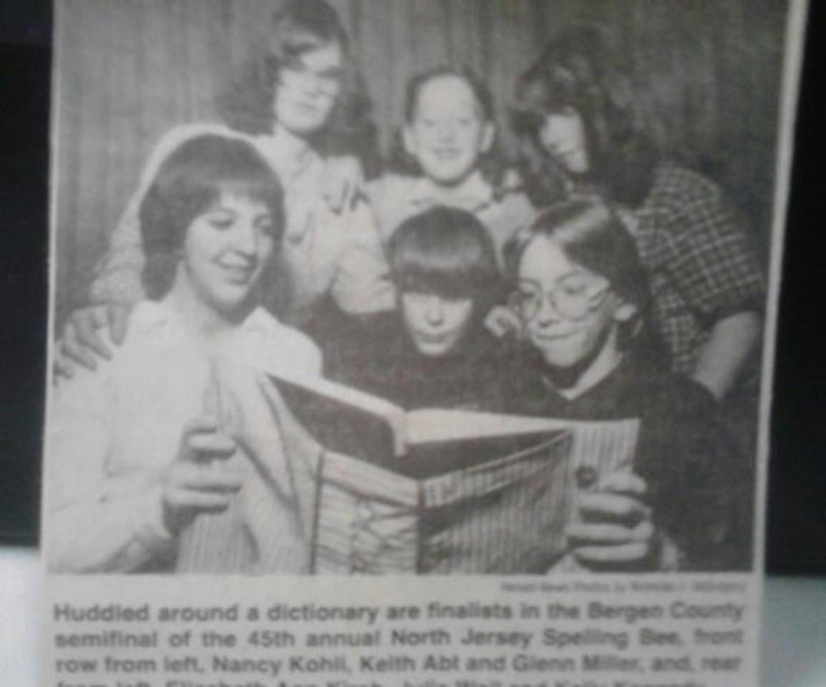 Newspaper pic of 13-year-old me (center) with some of my competition. You'd think I could've looked a little happier, being surrounded by all those girls.