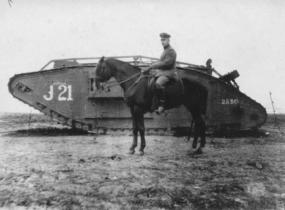 the 'old' alongside the 'new' - aircraft were not the only new items on the battlefield in World War 1