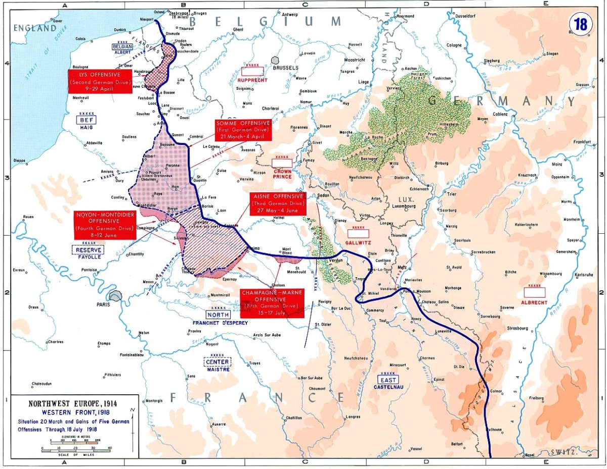 A map detailing some of the final German offensives of 1918