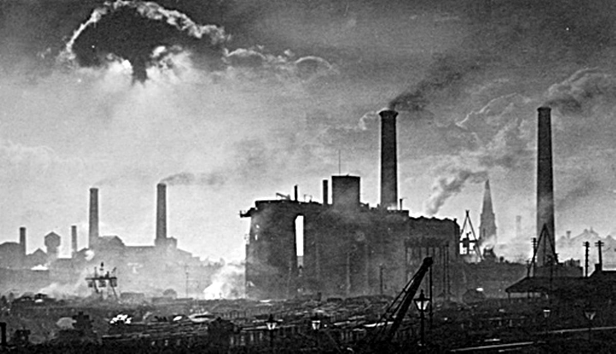 The Leeds Steelworks, with Hunslet Parish Church behind.