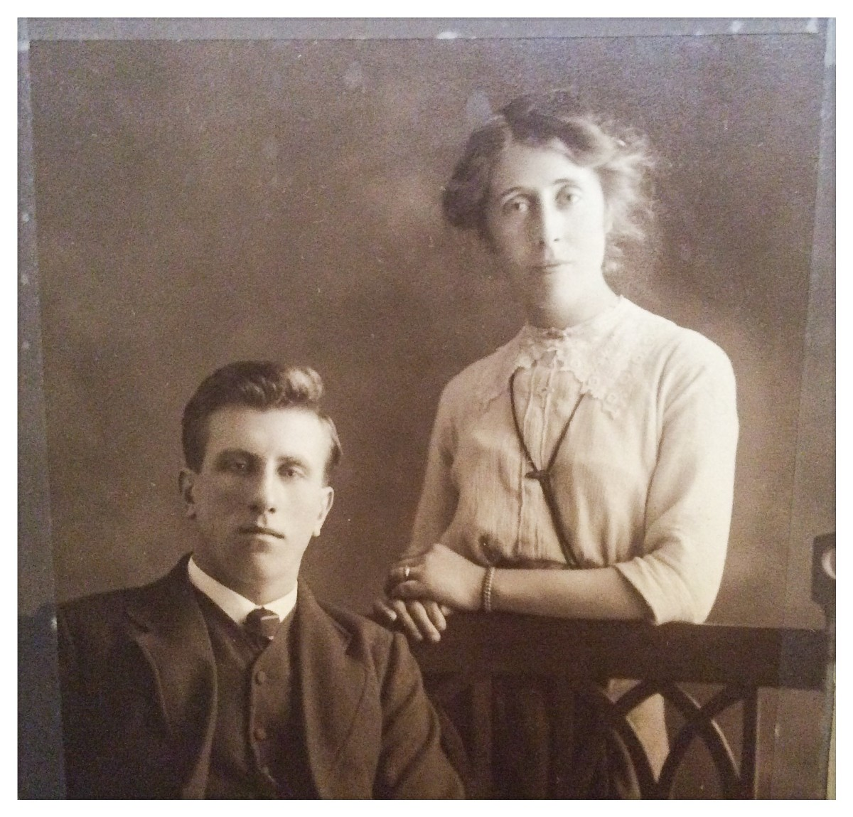 My grandparents as a young couple. Grandad is wearing his serious face for the photo. He was more often smiling when I knew him.