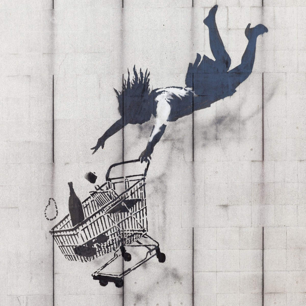 Shop Until You Drop, a Banksy stencil in London