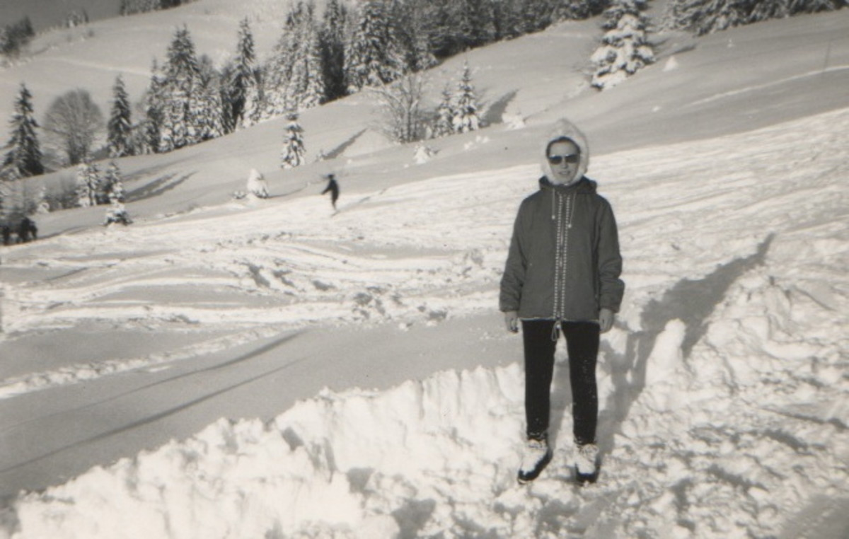 Me behind the Chalet - trendy gear, eh?!  Well it was 1965/66