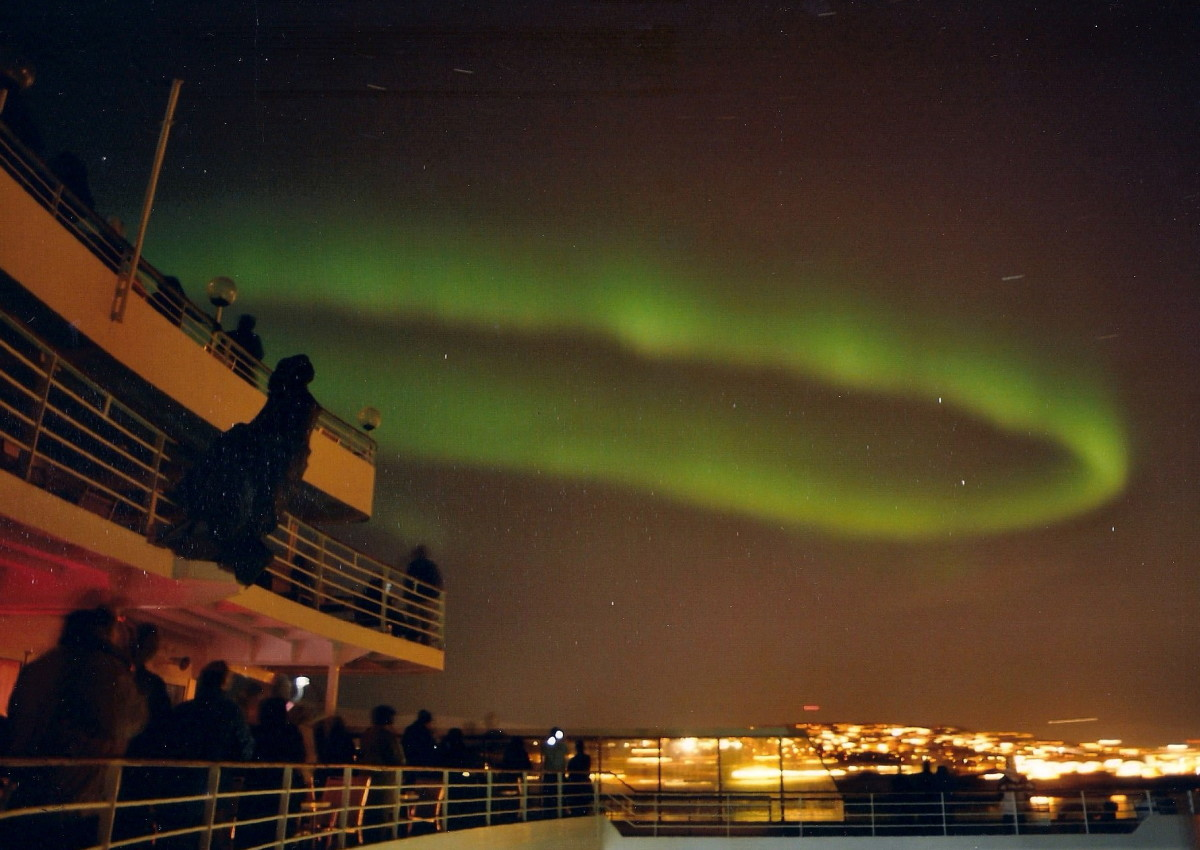 A coronet above the city of Tromso, Norway.  This is exactly part of what we saw!