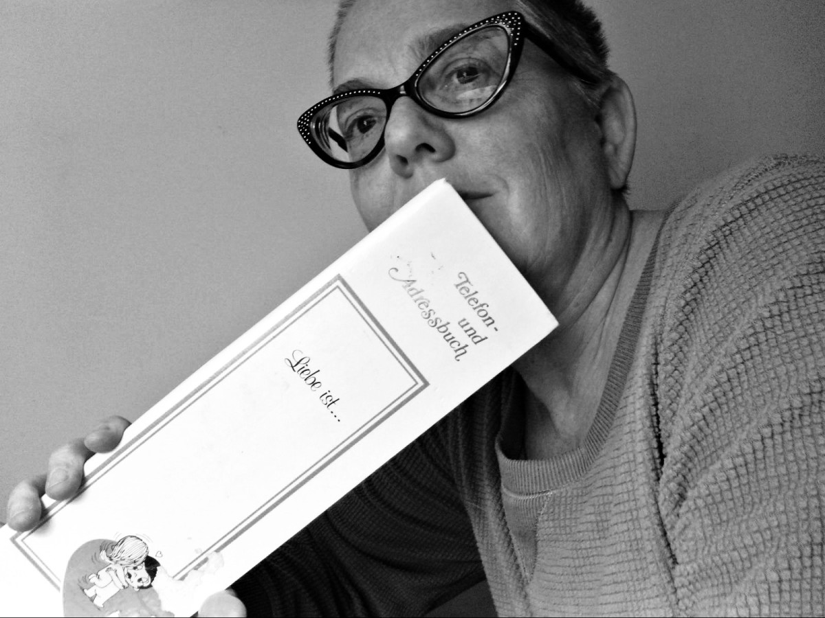 The author with her address book that she purchased in Germany in the 70s while living on Strassburg Kaserne with her family.