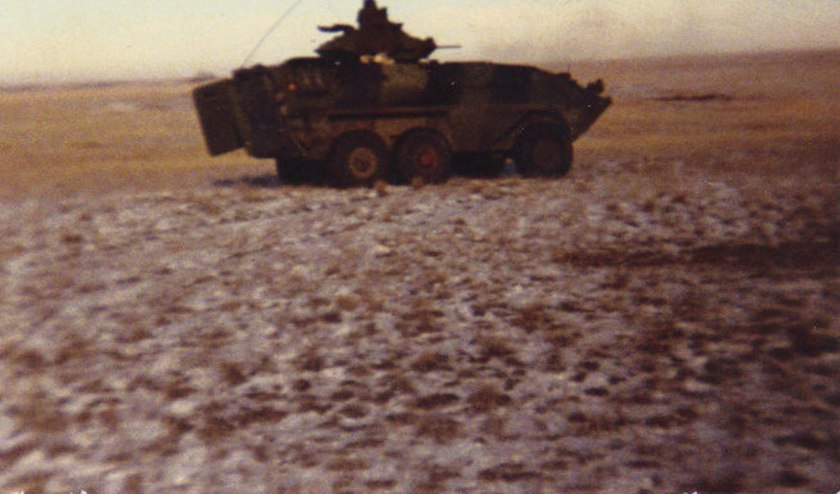 Canadian Grizzly (1990) on a firing exercise in Alberta, Canada. These would be painted white for their role in Cyprus