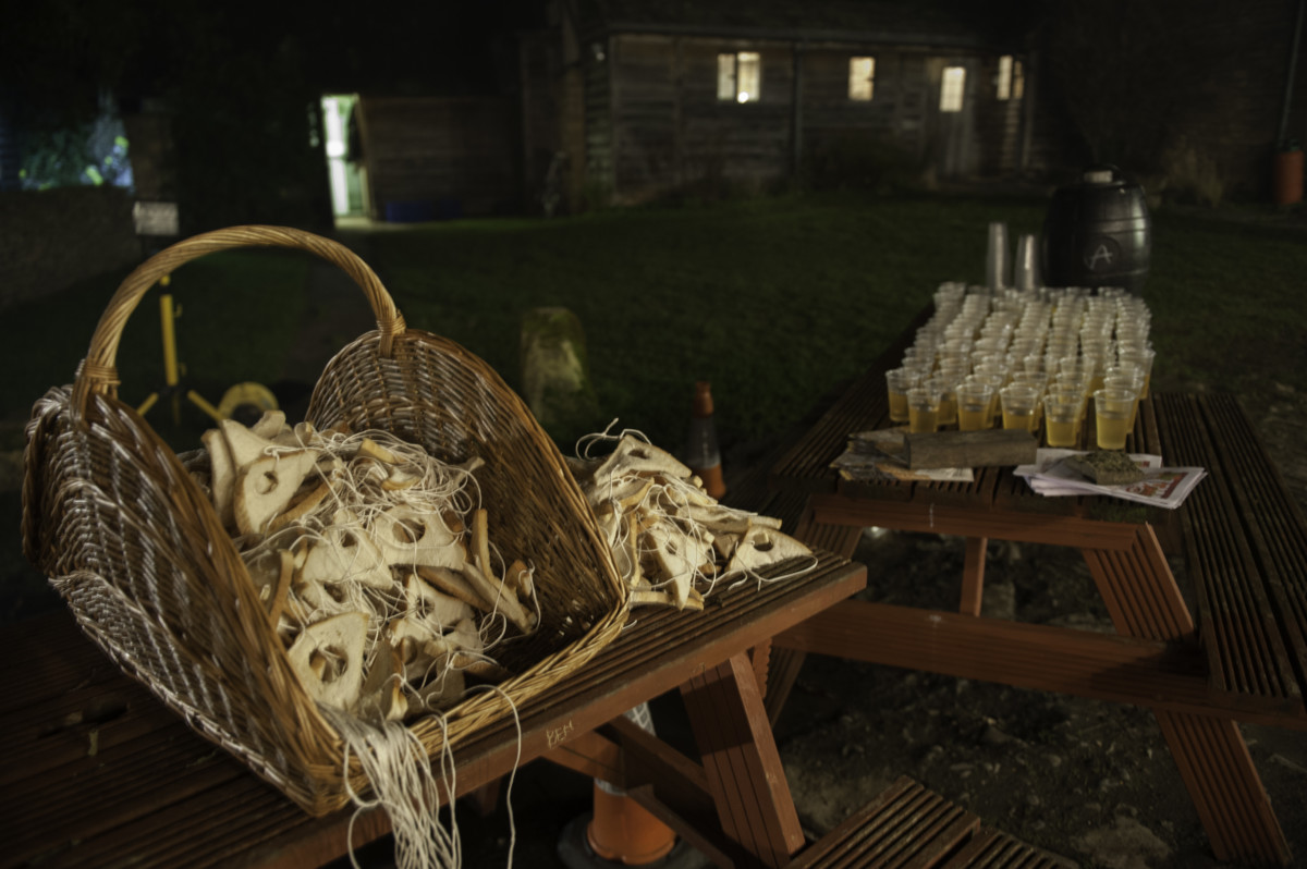 Cider and toast, prepared and ready for the Wassail.