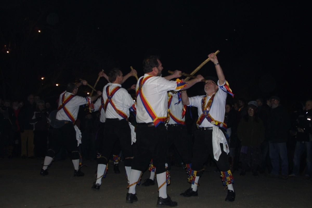 The Pebworth Morris Side, dancing in the dark