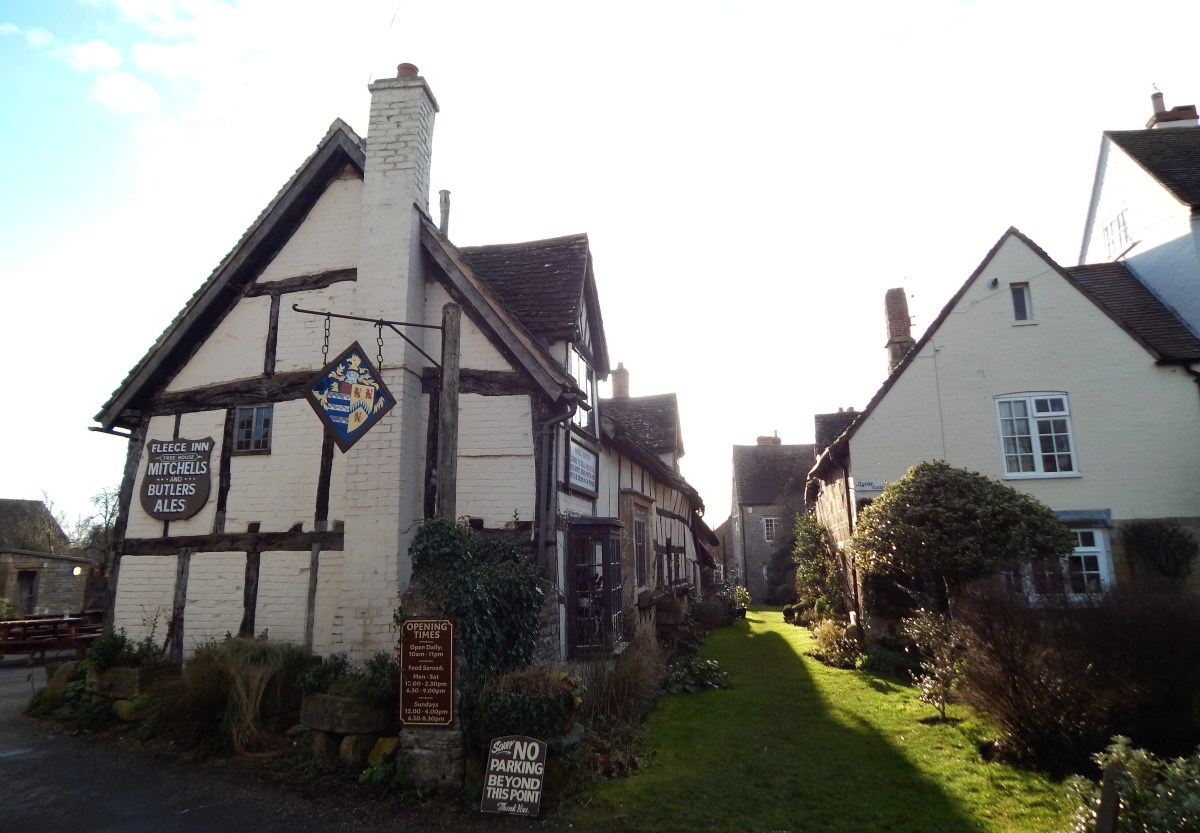 The Fleece Inn by day. Located in the picturesque English village of Bretforton in Worcestershire, this is one of Britain's finest traditional pubs.