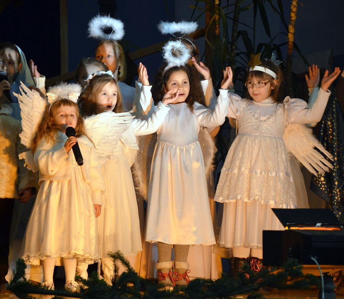 Children with halo's at Christmas nativity play