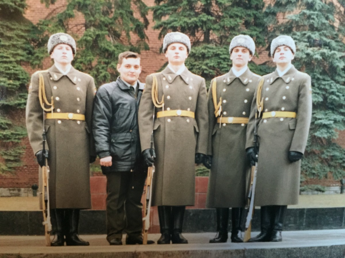 Sergei (2nd from right) was an officer in the National Honour Guard of Russia.