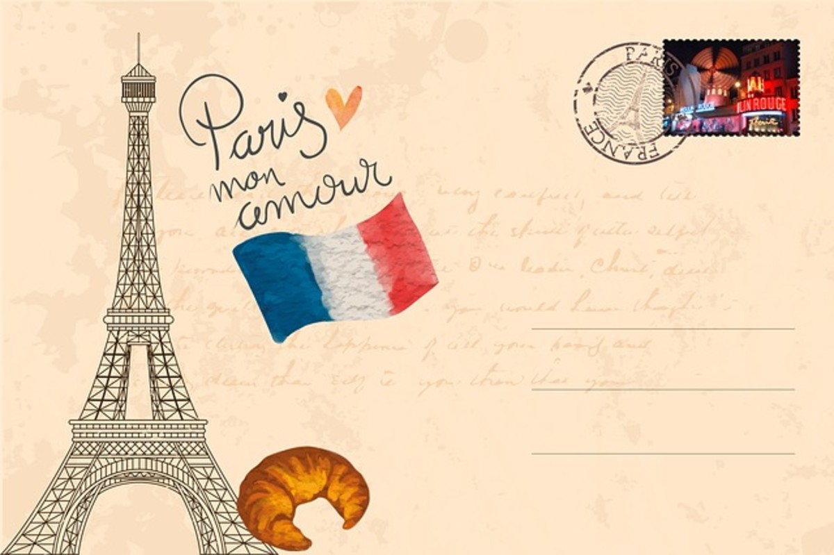 This postcard represents favorite elements the world loves about Paris, France.