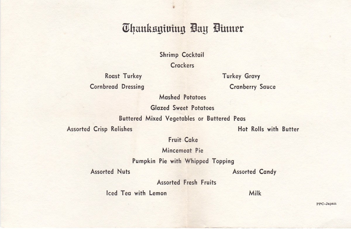 This is the menu for Thanksgiving Day, 1968