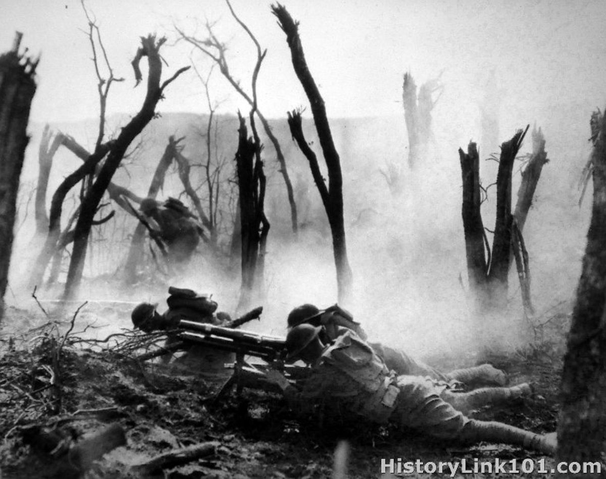 "No Man's Land during trench warfare of World War I.  ""It seemed like forever. The ground shook as every blast rang in my ears. It was hard to believe that this barrage lasted only less than a minute."""