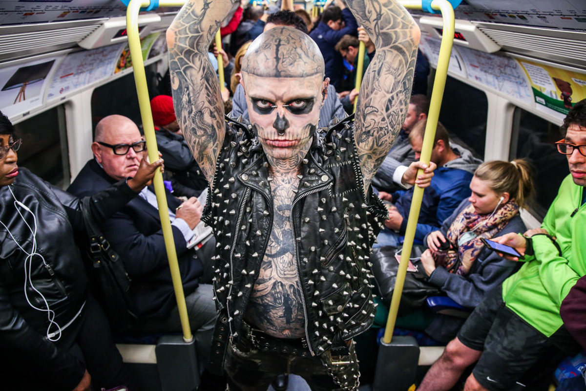 """Rick Genest, also known as """"Zombie Boy."""" Another outcast in a cruel society. He died by suicide August 1, 2018, but he made his mark. The Lady Gaga video  with Rick in it was my pick for this essay. He was the truth of so many or our stories."""
