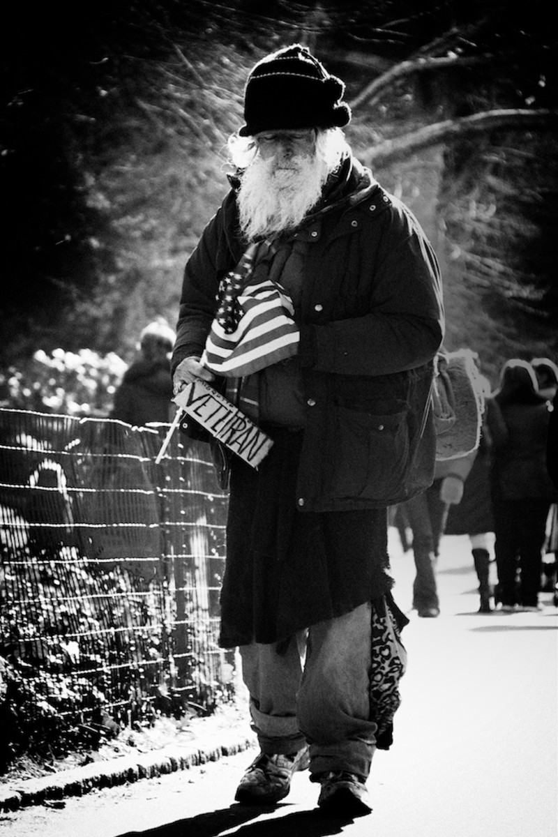 A homeless veteran in New York
