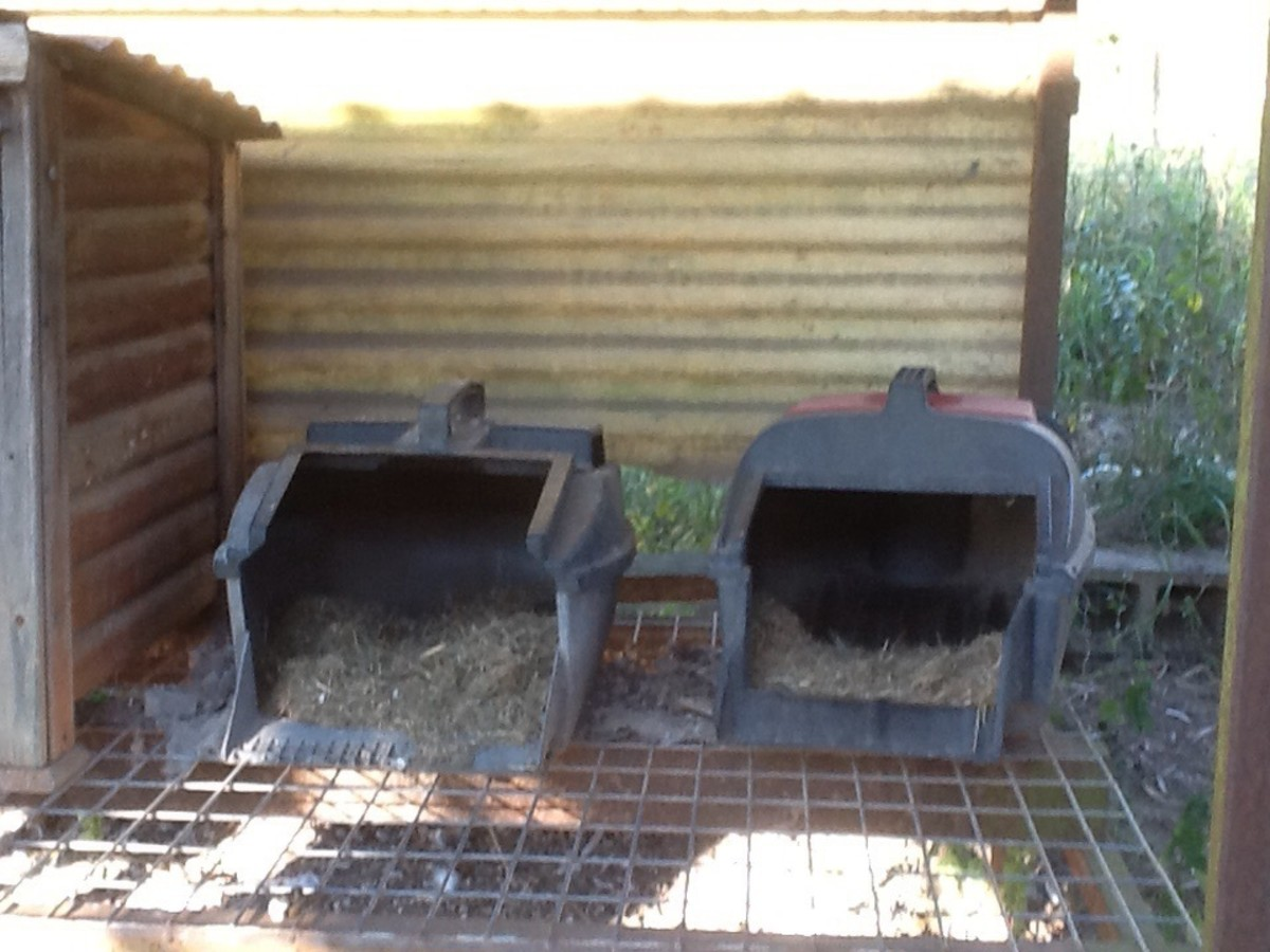 Two of the nesting boxes (ex grass catchers)