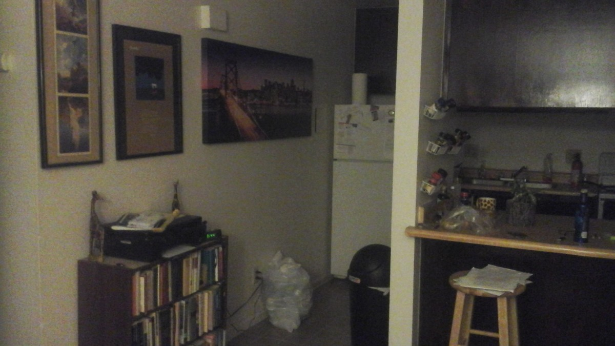 A View of the Cluttered Kitchen Area