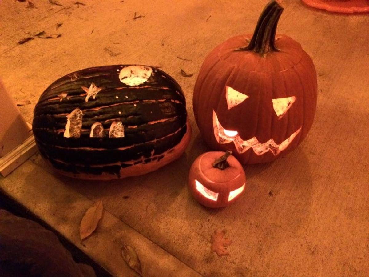 Jack-o-lanterns carved by the author and his daughter.