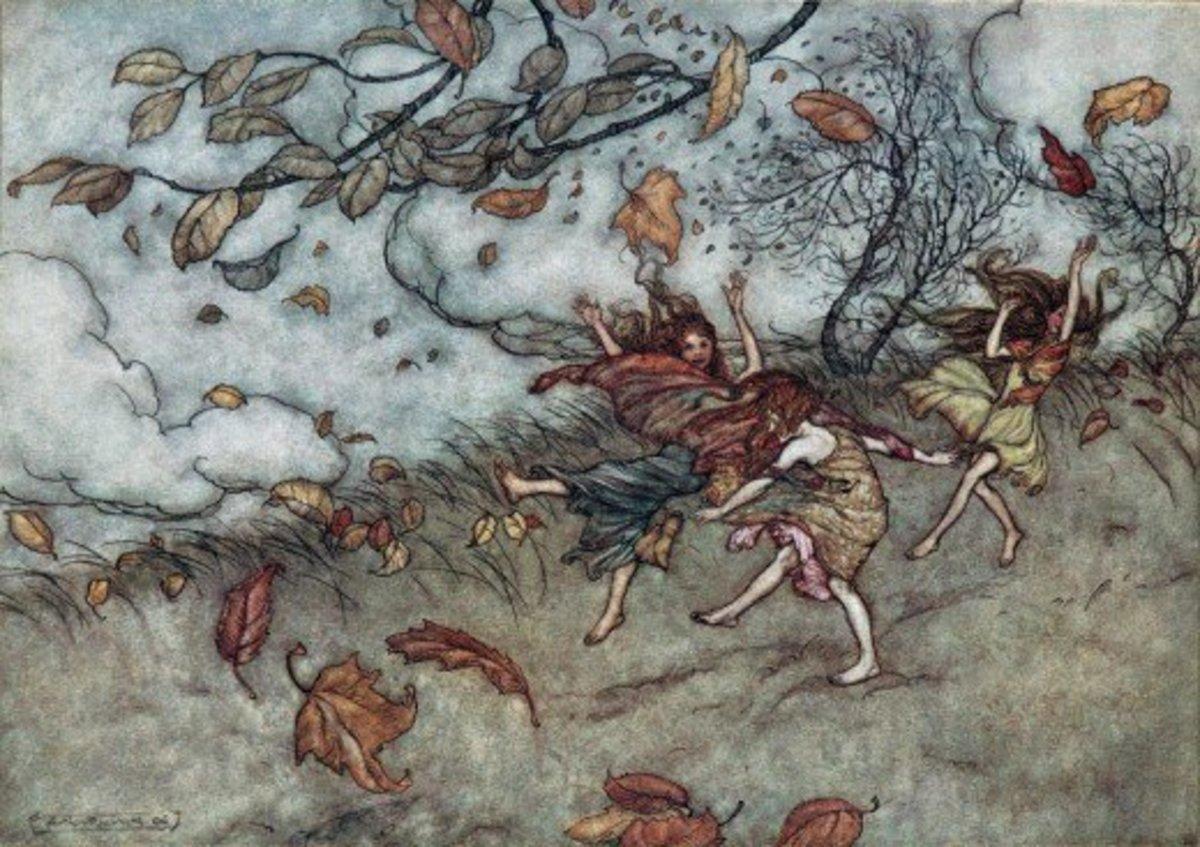 Autumn Fairies Dancing in the Wind (Arthur Rackham)