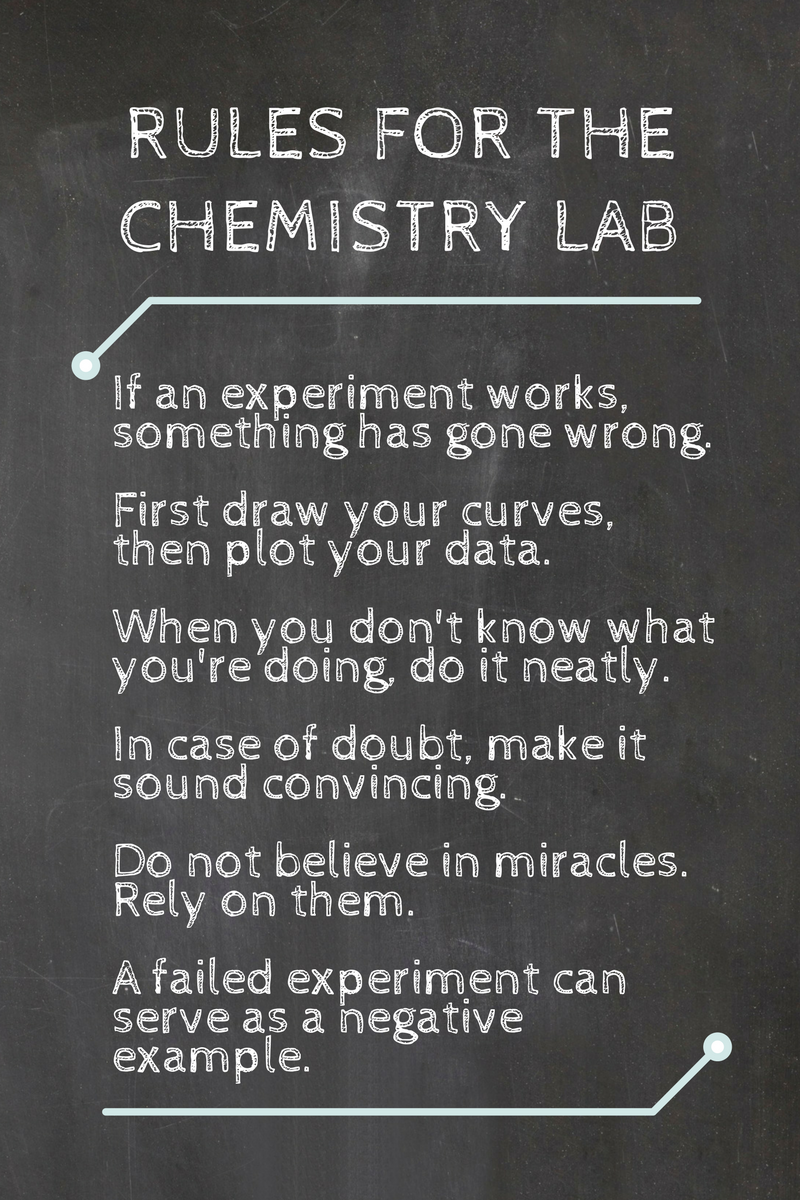 If an experiment works, something has gone wrong. First draw your curves, then plot your data. When you don't know what you're doing, do it neatly. In case of doubt, make it sound convincing. Do not believe in miracle. Rely on them.