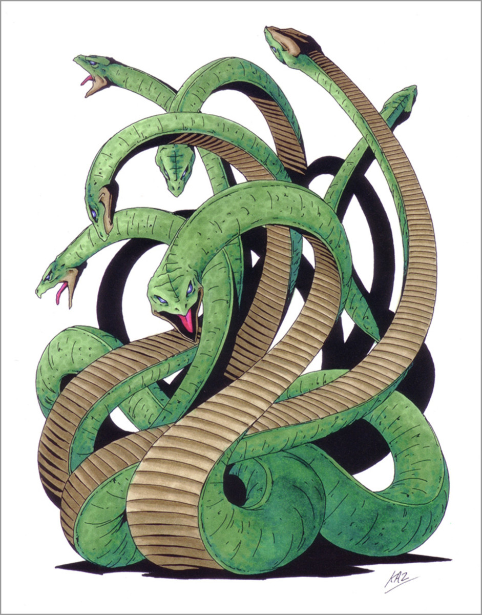 Yamata-no-Orochi artwork from the Shin Megami Tensei series of games. Almost as famous as Kusanagi-no-Tsurugi, Orochi appears in many games as a fearsome enemy.