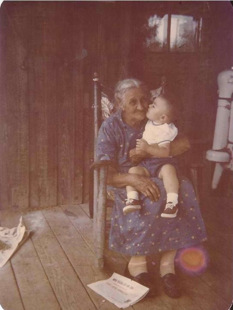 Great granny and grandson enjoying those special moments on a front porch somewhere in Tennessee.