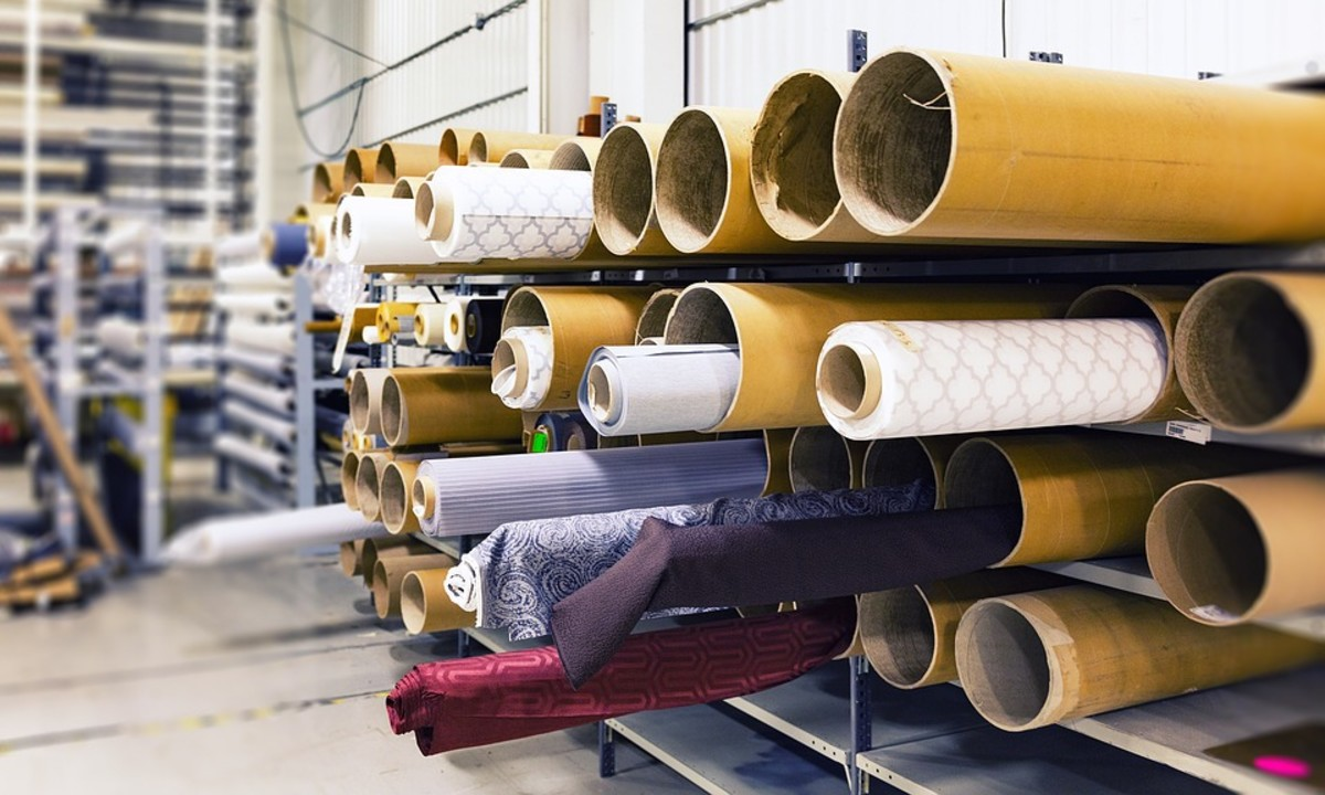 Rolls of fabric in a textile factory.
