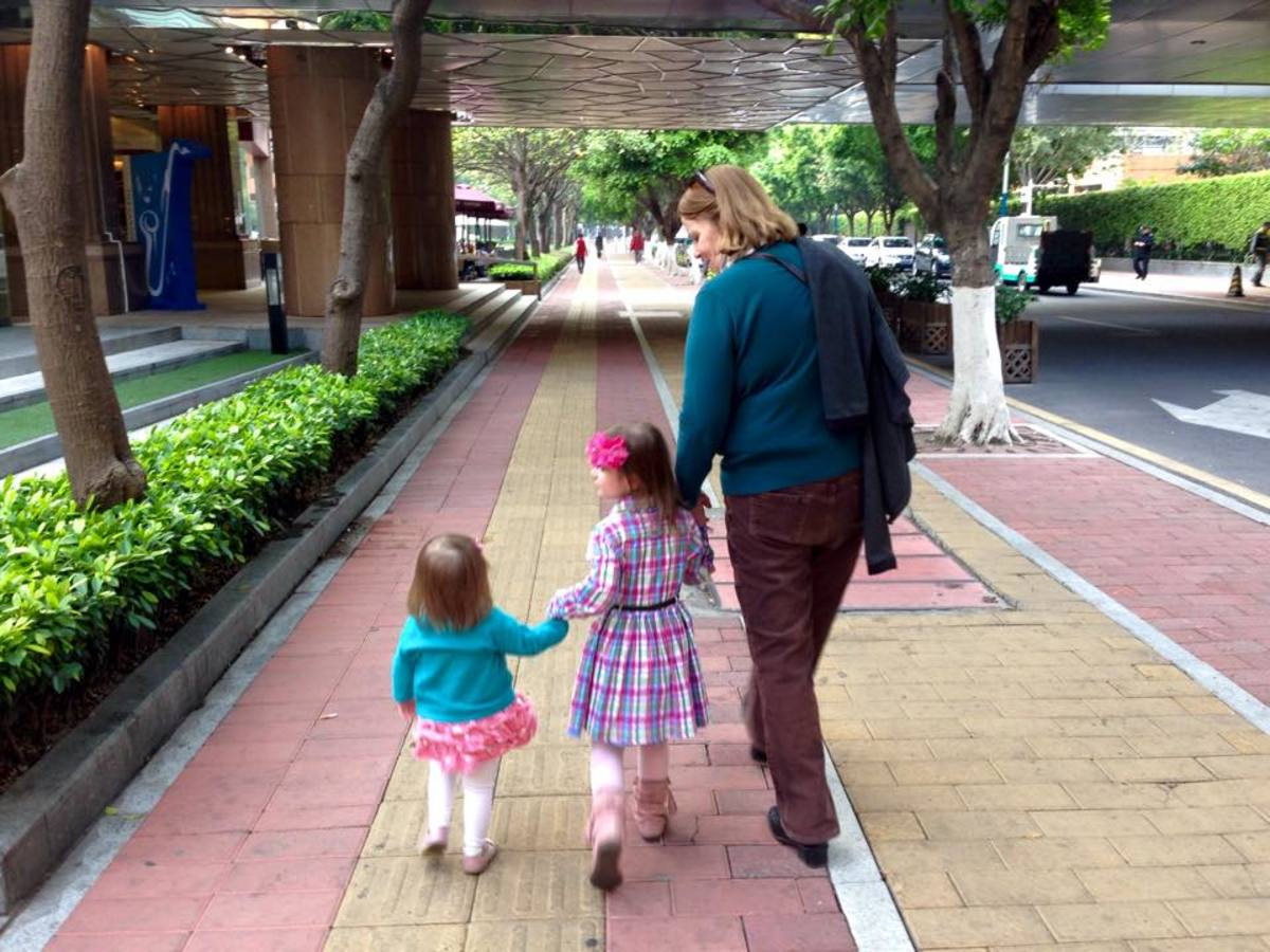 Elise, Sophia and me enjoying a walk together in Guangzhou