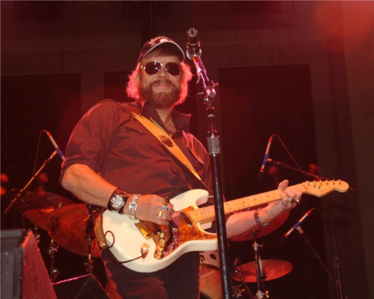 Hank Williams, Jr.,  performing in a concert  in Birmingham, AL.