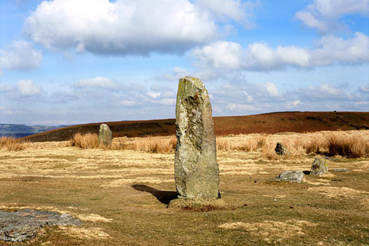 View of one of the standing stones in the neolithic monument