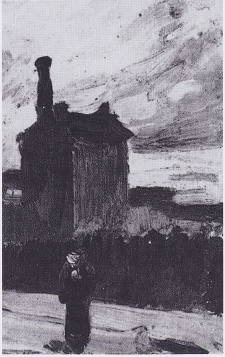Repro from art book--Van Gogh View Montemarte before a storm.