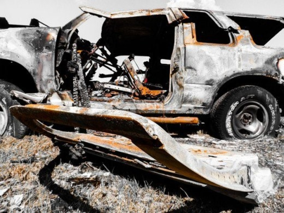 The burned out hulk of Cheryl's car.