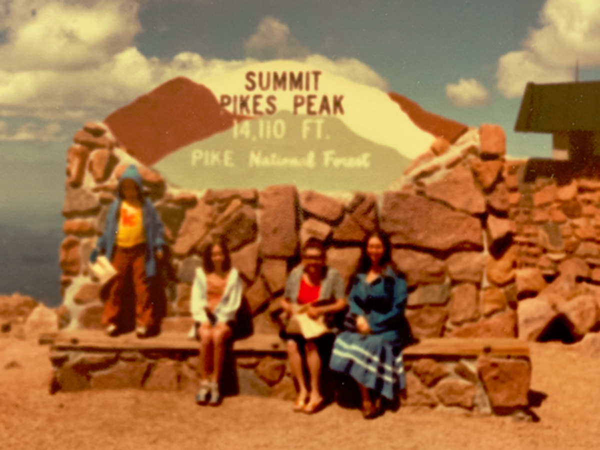 Summit of Pikes Peak.  Rodney, Lyn, Linda's mom (visiting from Indiana), and Linda