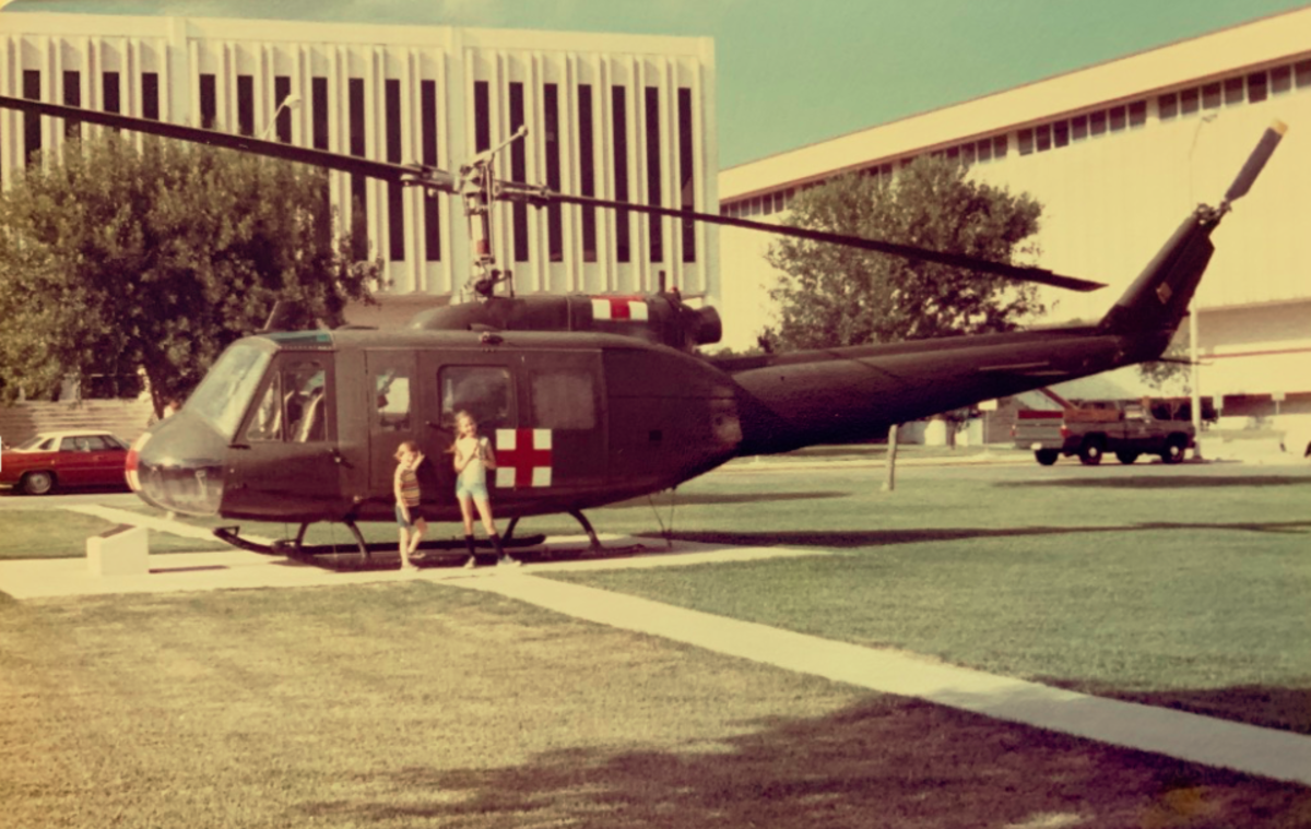 Lyn and Rodney checking out the helicopter at Fort Sam Houston