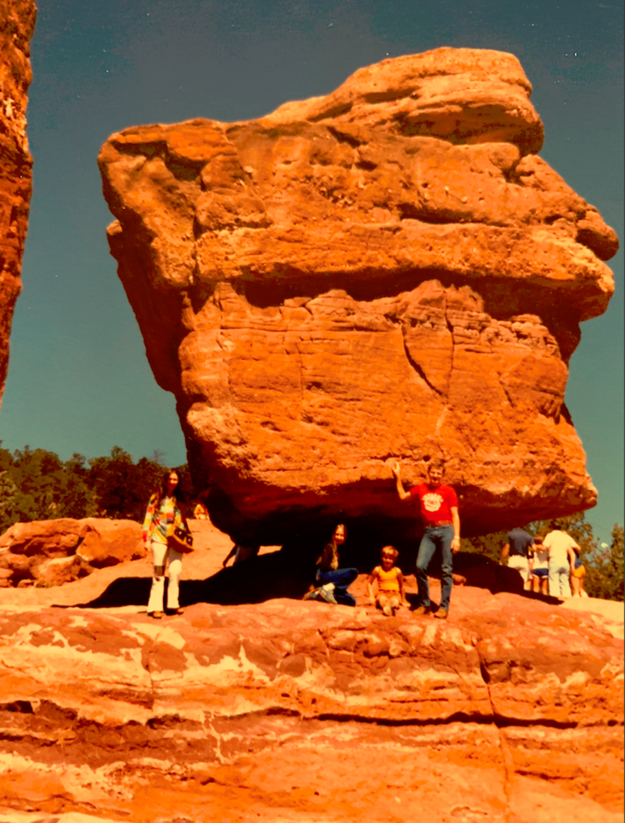Linda, Lyn, Rodney, and me at Balanced Rock in Garden of the Gods, Colorado.